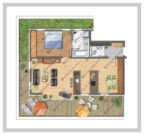 Designstudio reiter illustrationen architekturmodelle for Wohnung design 3d
